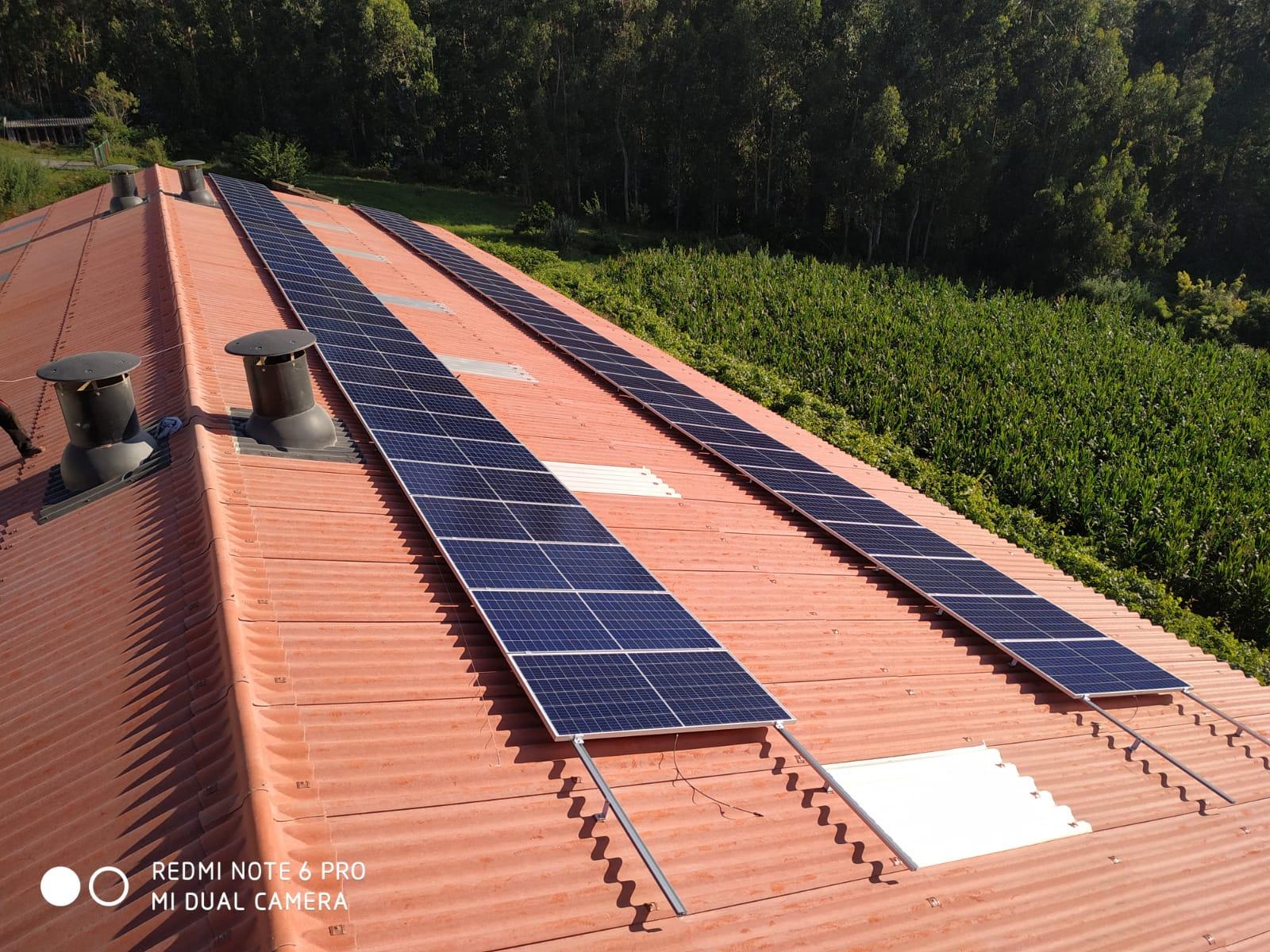 Placas fotovoltaicas en granja gallega